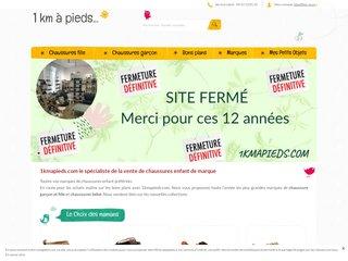 screenshot http://www.1kmapieds.com La boutique de chaussures enfant déstockées