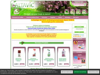 screenshot http://www.altavic-bio.com Altavic-bio: produits bio pour toute la maison