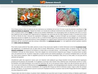 screenshot http://www.anemone-clown.fr/ Anémones de mer et poissons-clowns