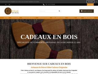 screenshot http://www.cadeaux-en-bois.fr/ Boutique du cadeau en bois original !