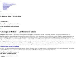 screenshot http://www.chirurgie-esthetique-plus.fr Chirurgie esthétique informations