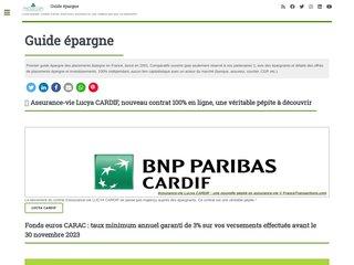 screenshot http://www.francetransactions.com Guide de l'épargne et de l'investissement