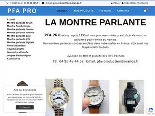 screenshot http://www.lamontreparlante.com La montre parlante à aiguilles pour femme et homme