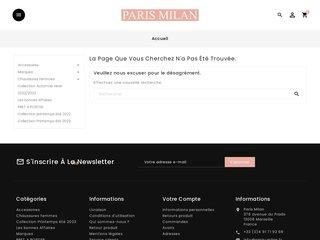 screenshot http://www.paris-milan.fr/home.php Paris- milan.fr, vente en ligne de chaussure