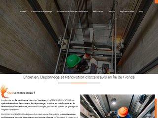 screenshot http://www.phoenix-ascenseurs.fr/ Entretien dépannage ascenseurs et monte charges