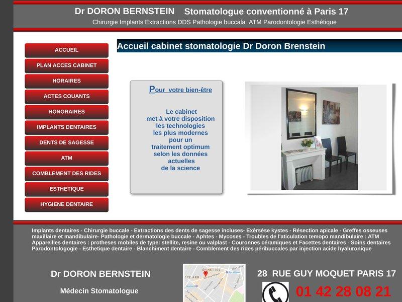 Dr Doron BERNSTEIN Stomatologue conventioné à Paris 17  Tél : 01 42  28 08 21