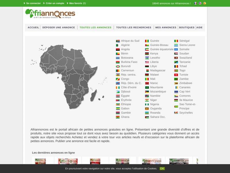 Afriannonces  le N°1 de l'annonce Gratuite en Afrique.