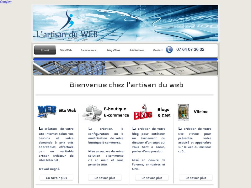 Un artisan du web pour réaliser votre site internet vitrine ou mise en oeuvre e-commerce à petit prix. Confiance et travail soigné garanti satisfait ou non payé.