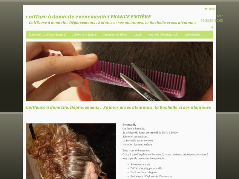 Berangére, Coiffure à domicile se déplace du lundi au samedi de 8H30 à 20h00.   Saintes et ses environs  La Rochelle et ses environs  Hommes, femmes, enfants