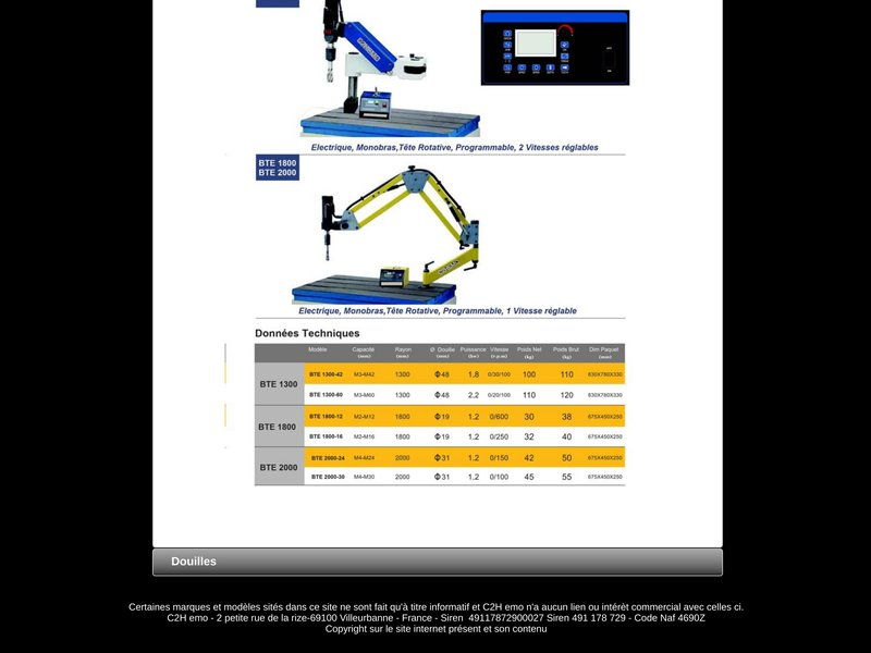 Bras de taraudage pneumatiques, electriques,pneumatiques