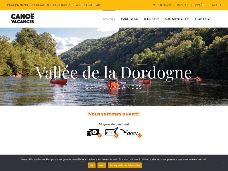 Canoë Vacances - Location de canoës et kayaks sur Dordogne à Sarlat, La Roque Gageac, Beynac.
