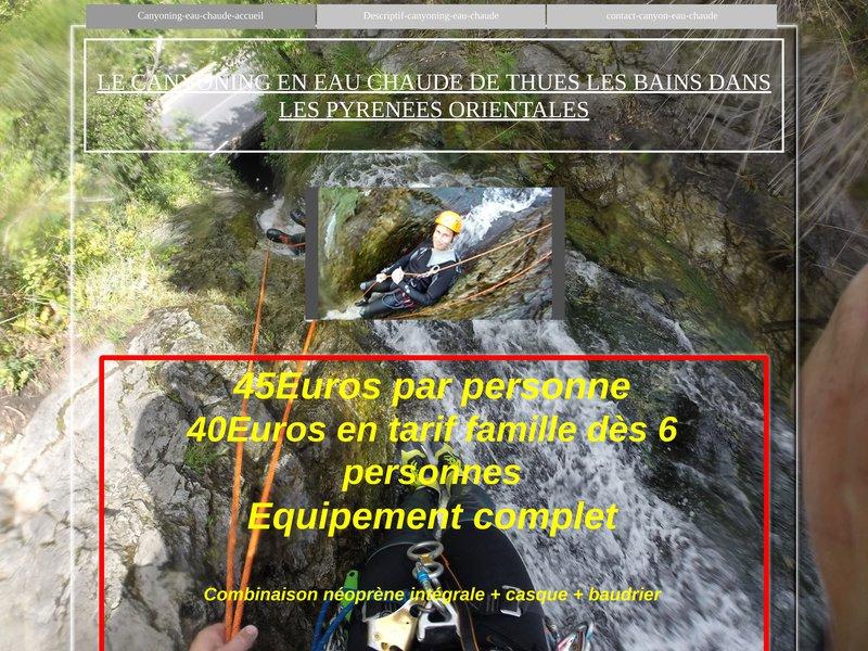 Canyoning eau chaude Thuès Pyrénées Orientales