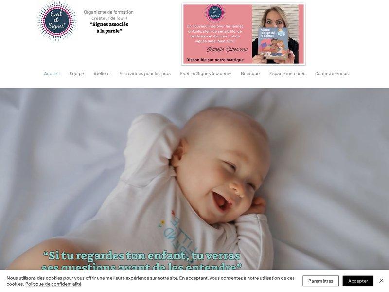 Eveil et Signes propose des formations en communication gestuelle associée à la parole, des ateliers de langue des signes bébé, à destination des familles et une boutique en ligne