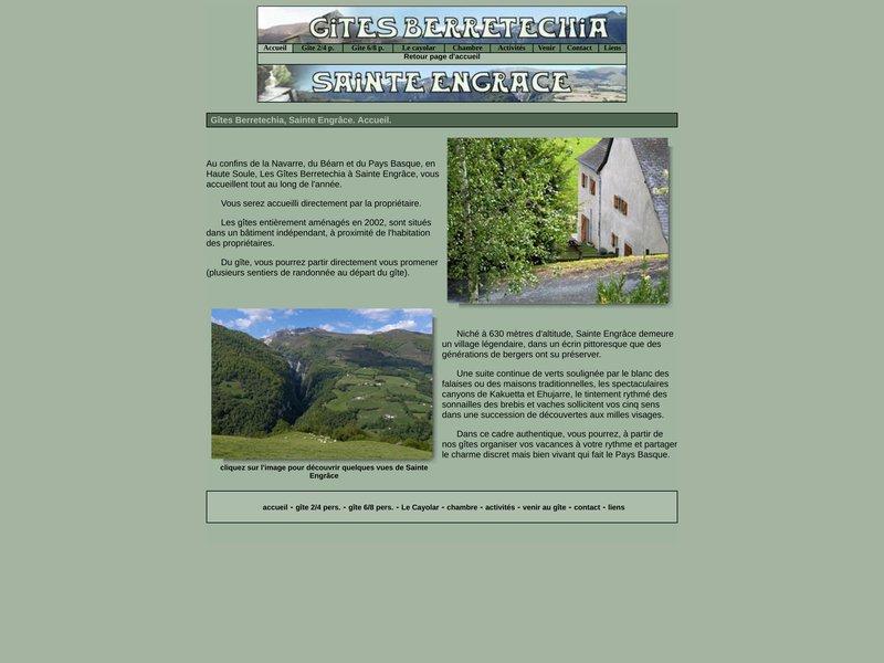 Hébergement à Sainte-Engrâce Gites - chambres berretechia à Sainte-Engrâce à 2mns des grottes de la Verna, à 5 mns des gorges de Kakuetta et à 12 kms de la station de ski La Pierre St Martin
