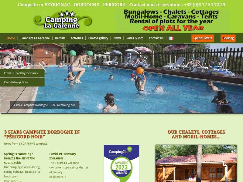 Camping La Garenne *** ouvert à l'année avec piscine chauffée aux portes du Perigord noir