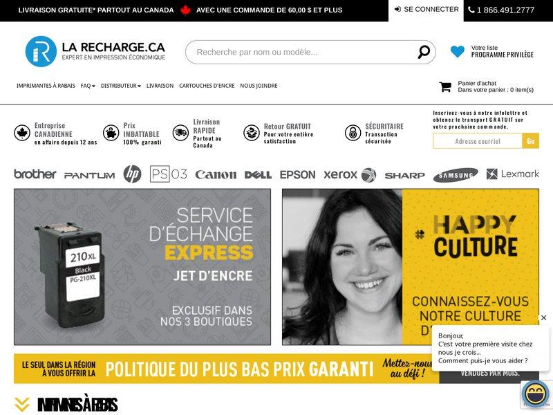 La Recharge.ca Spécialiste en solution d'impression, cartouche économique, écologique et original depuis plus de 12 ans
