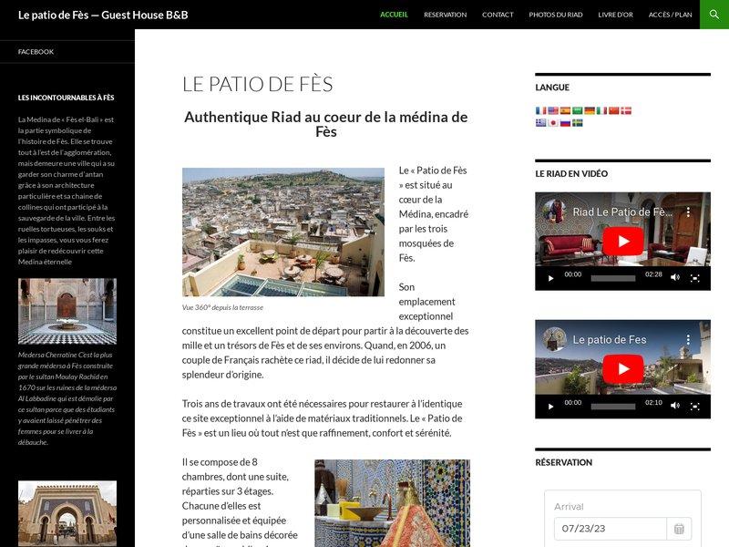 Riad le patio de Fes - maison d'hôte, location riad maroc Fes