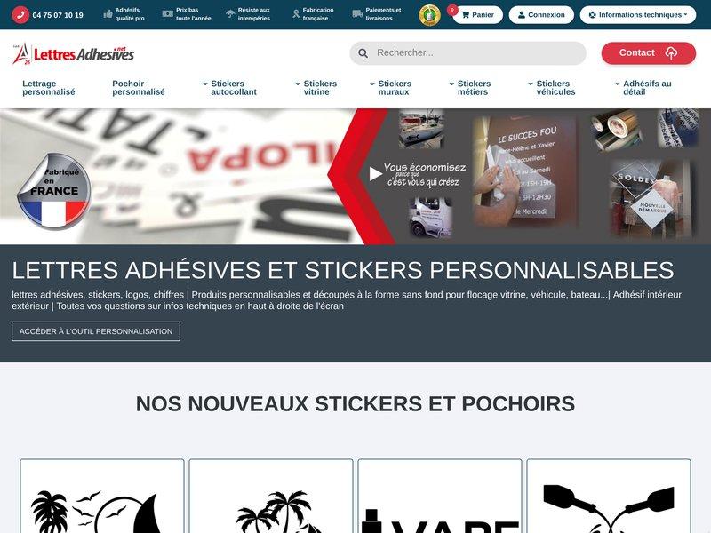 Lettresadhesives.net : boutique de vente en ligne d'autocollant et de lettrage.