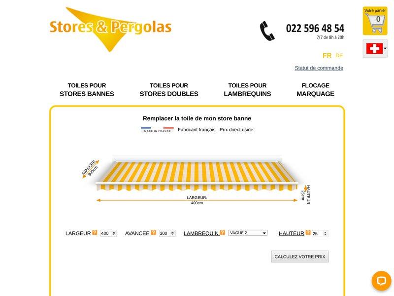TOILE DE STORE BANNE SUR MESURE | Stores & Pergolas.com