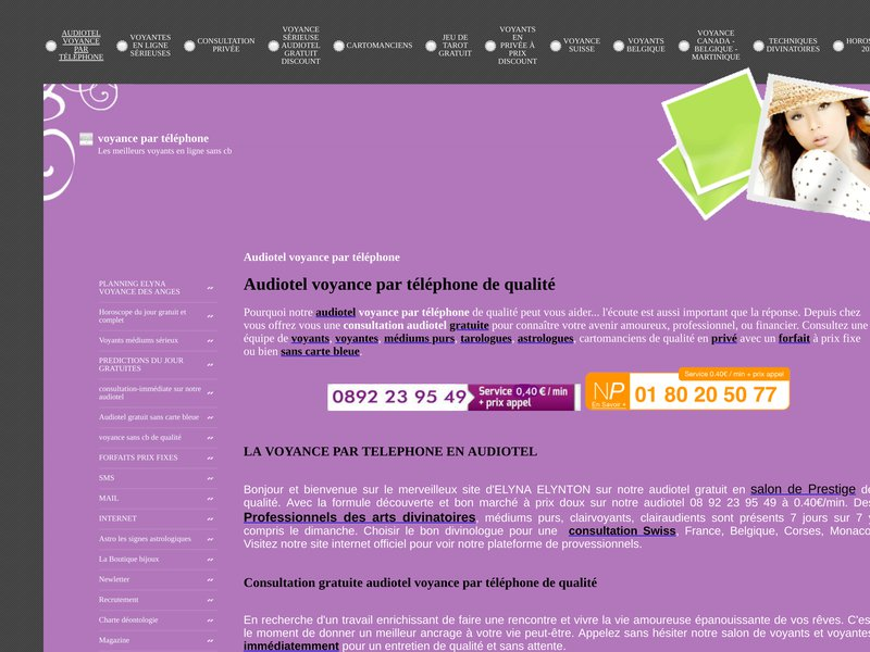 Voyance de Prestige pour des consultations de voyance par téléphone immédiate, service audiotel sans file d'attente au 08 92 23 95 49 à 0.40Euro/min