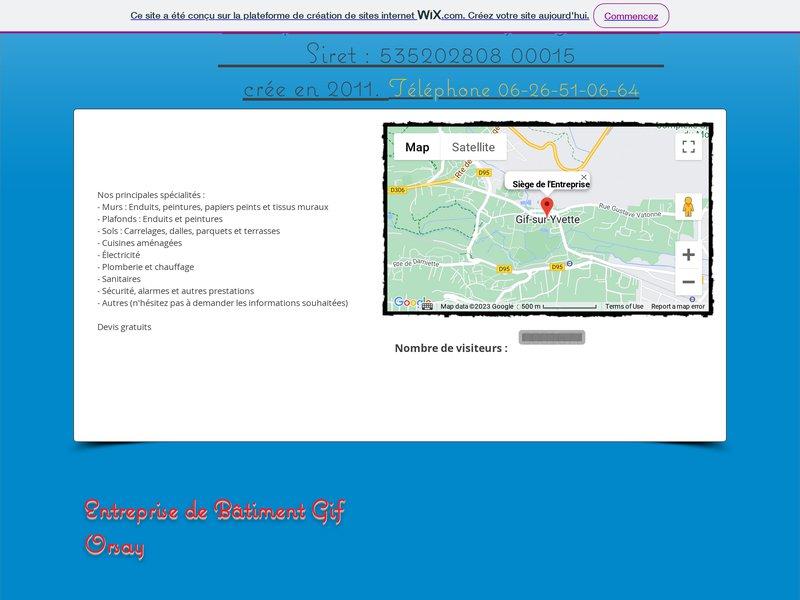 Entreprise du Bâtiment Yves Jeanmart             Siret : 535202808 00015 Mobile Téléphone 06-26-51-06-64 Gif sur Yvette Essonne