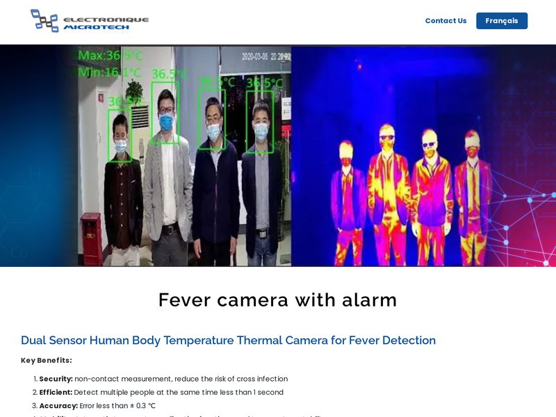 Covid fever thermal camera with alarm