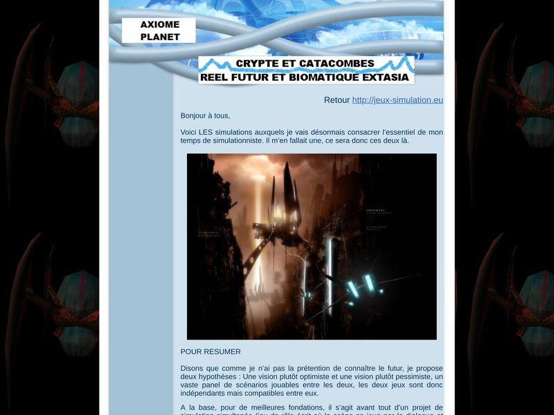 Crypte et Catacombes Réel Futur et Biomatique Extasia  Le Jeu De Rôle