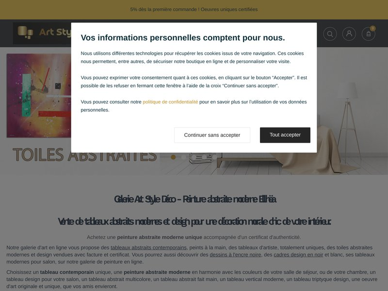 Boutique Art Style Déco - vente tableaux abstraits contemporains - peinture abstraite moderne et design - dessins encre de chine - reproductions d'art - artiste-peintre Ellhëa