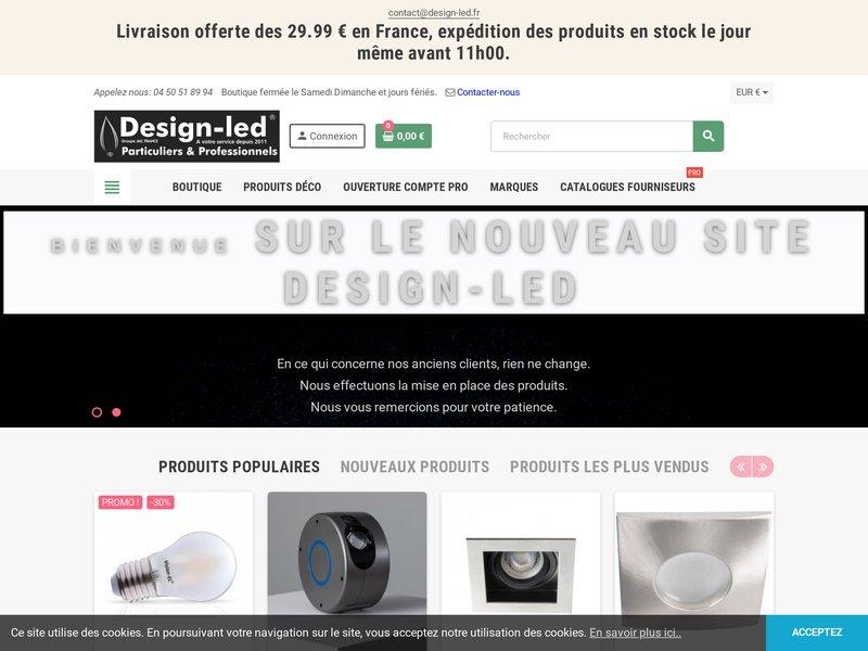 Luminaires Led Design en vente dans la boutique Design Led, 74000 Annecy, 1er magasin de vente dédier à la LED.Led pas  chères, Led France.