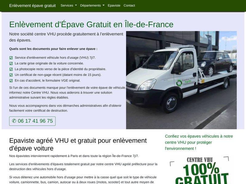 Enlèvement épave gratuit Paris et région Île-de-France
