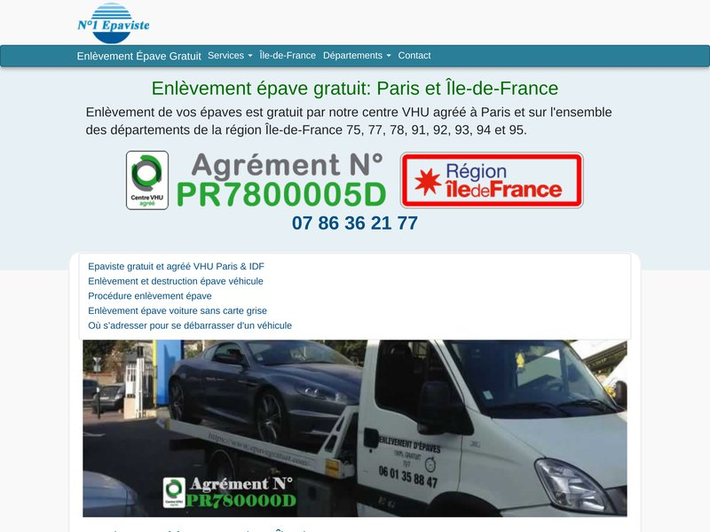 Enlèvement épave gratuit | Epaviste VHU Paris Ile de France