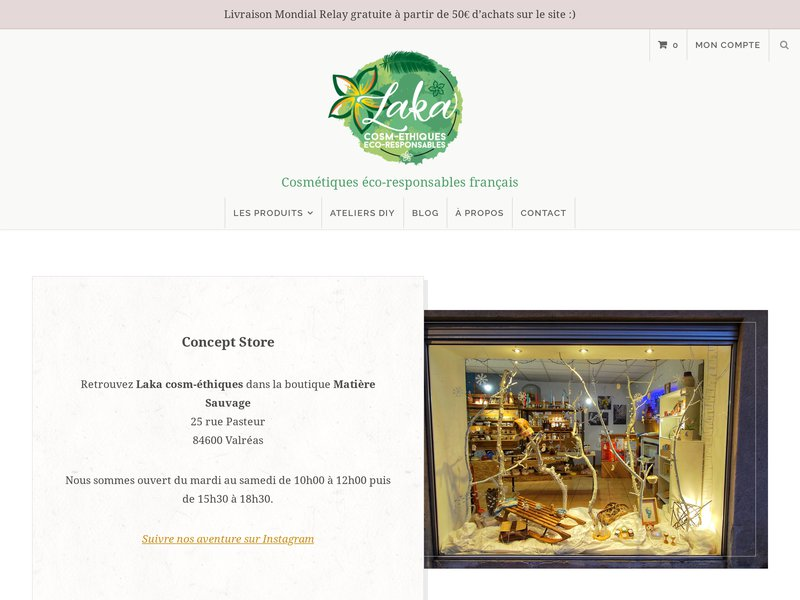 Laka cosm-éthiques eco-responsables : vente de produits cosmétiques biologiques, écologiques et français.