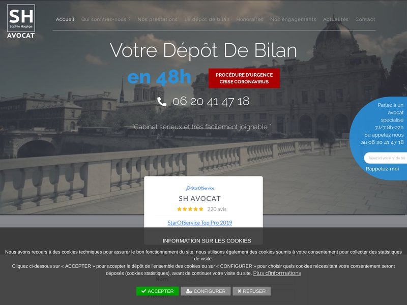 Avocat redressement et liquidation judiciaire : SH AVOCAT -Me Sophie HAGEGE Rappel immédiat 06 20 41 47 18